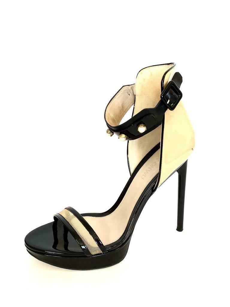Jason Wu Black and Taupe Patent Leather Sandals with Pearls Size 38.5
