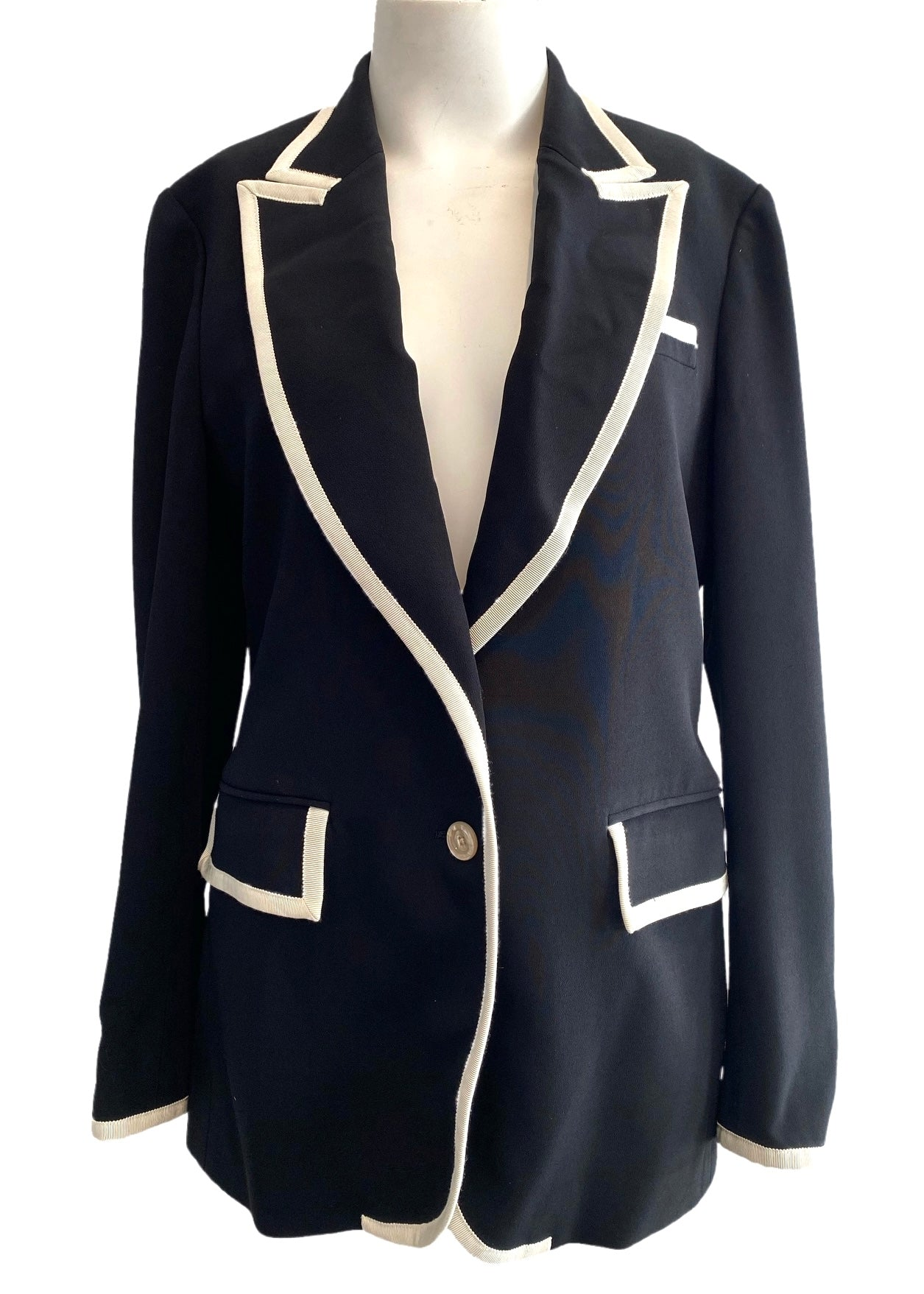 Gucci Black Jacket with Ivory Grosgrain Ribbon Trim Size 44