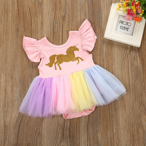 a3f58157edee ... Image of Baby Girls Unicorn Lace Tutu Romper Outfit 6-24 months ...