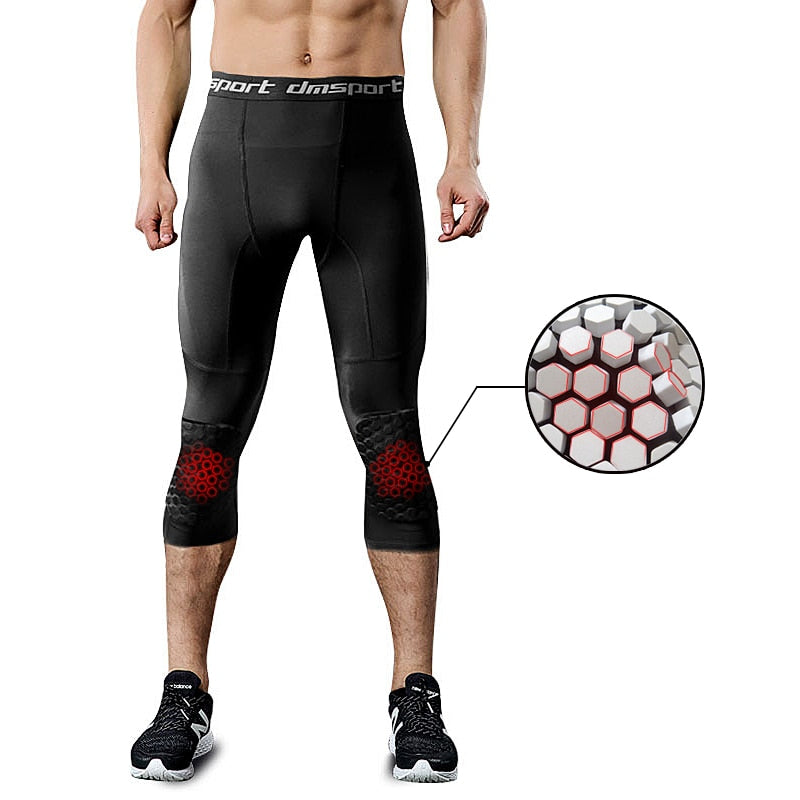 d6eb7f954719 Basketball Shorts Men Fitness Training 3 4 Leggings With Knee Pads Sports