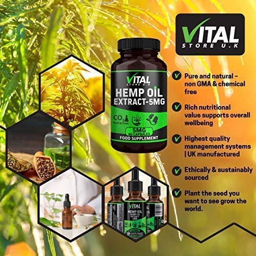 Vital Hemp Oil Extract Capsules 5MG High Strength | 60 Capsule Bottle | UK  Manufacturer | Full Spectrum | Hemp Oil Alternative | C02 Extracted | Vegan