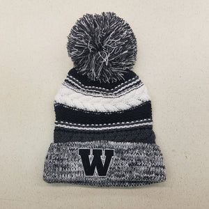 Black W w/ White Outline Pom Beanie (STC21)