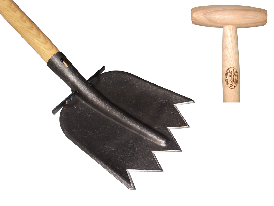Shovel with serrated edge and 1100mm ash handle and steps