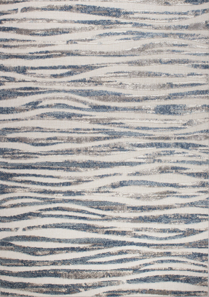 Alta Cream Blue Wavy Stripes Rug