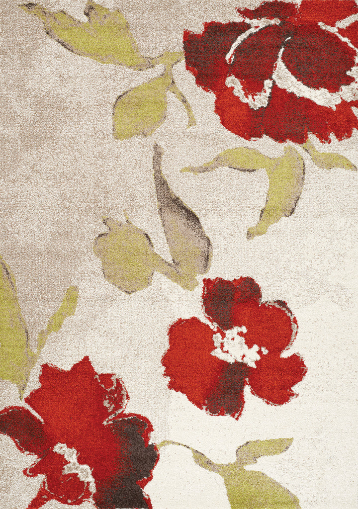 Camino Cream Red Floating Flowers Rug