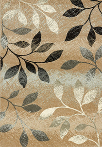 Casa Distressed Brown, White Leaves  Rug