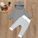 Grey Striped Trouser 2 Piece Set