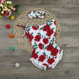 Rose Pompom Romper 2 Piece Set