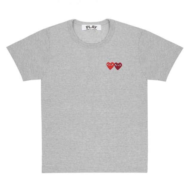 Play T-Shirt with Double Heart (Grey)