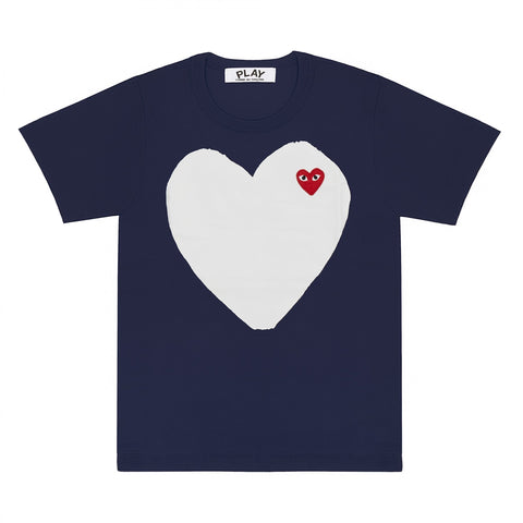 Play Comme des Garcons Big White Heart T-Shirt (Blue)
