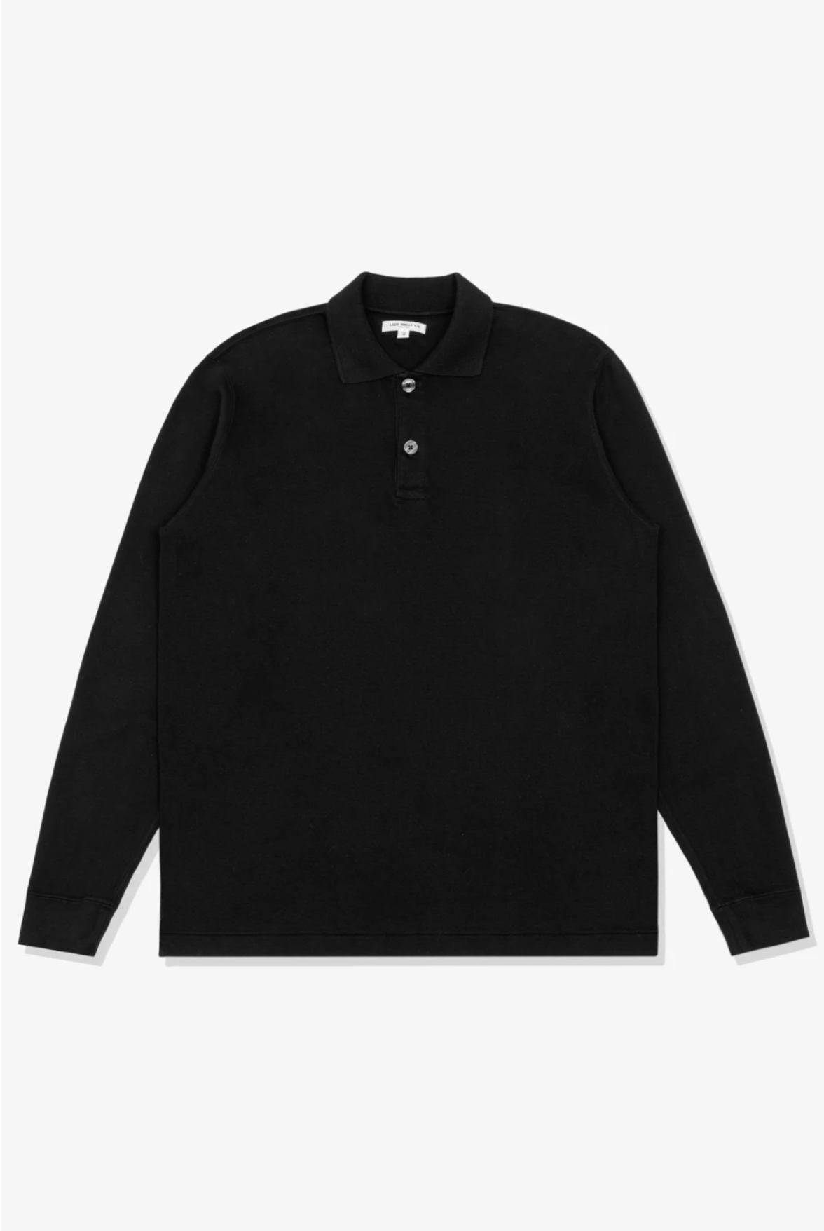 L/S PLACKETT POLO - BLACK