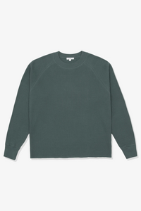 CROPPED RAGLAN THERMAL - INK GREEN