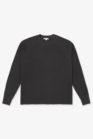 CROPPED RAGLAN THERMAL- TIRE BLACK