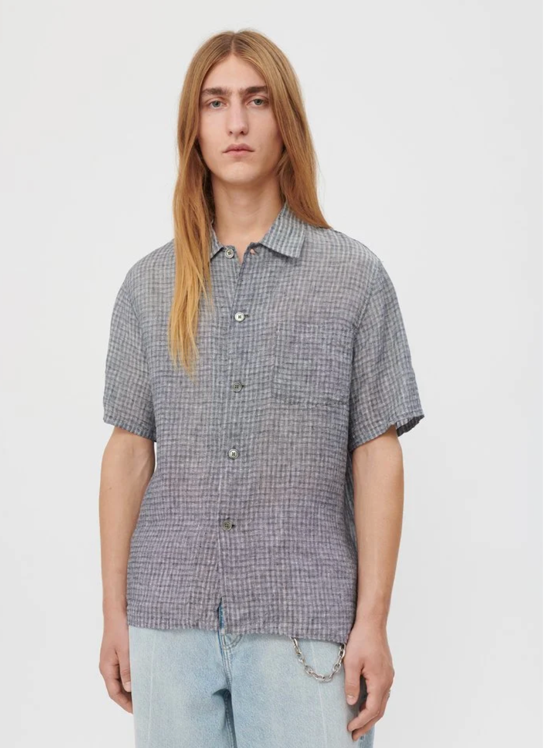 BOX SHIRT SHORT SLEEVE | SALT + PEPPER STRIPE