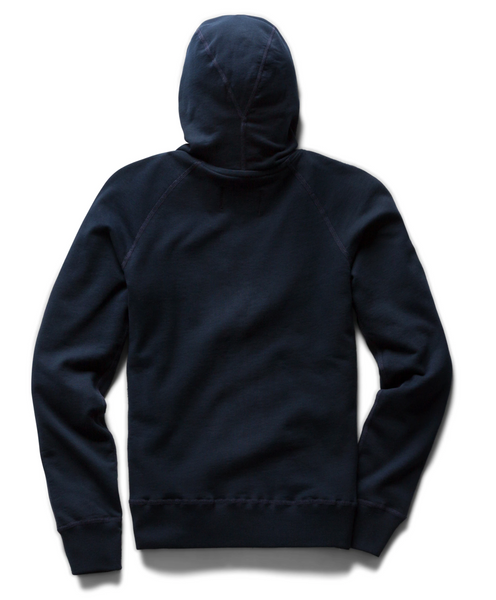 FULL ZIP HOODIE MENS NAVY | LIGHTWEIGHT TERRY