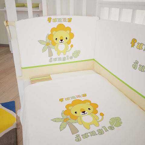 Bettwäsche - Polini Kids Baby Bettwäsche Set 140x70 Funny Jungle 3-tlg,1248