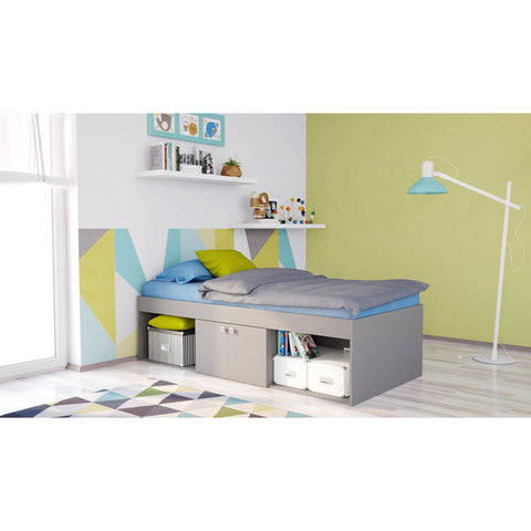 Jugendbett - Polini Kids Kinderbett Jugendbett Stauraumbett Simple Grau