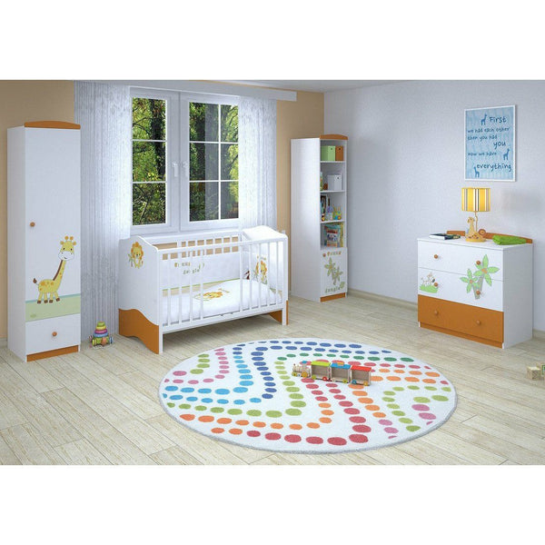 Kinderbett - Polini Kids Kombi-Kinderbett Basic Jungle 140x70 Weiß-orange,1184-1