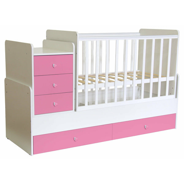 Kinderbett - Polini Kids Kombi-Kinderbett Simple 1100 Mit Kommode Weiß-rosa,1227.21