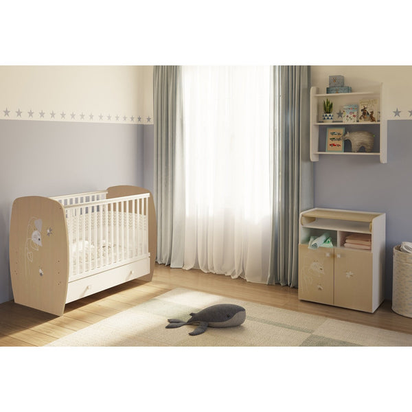 Kinderzimmer - Polini Kids Kinderzimmer French Amis  Babybett Mit Wickelkommode
