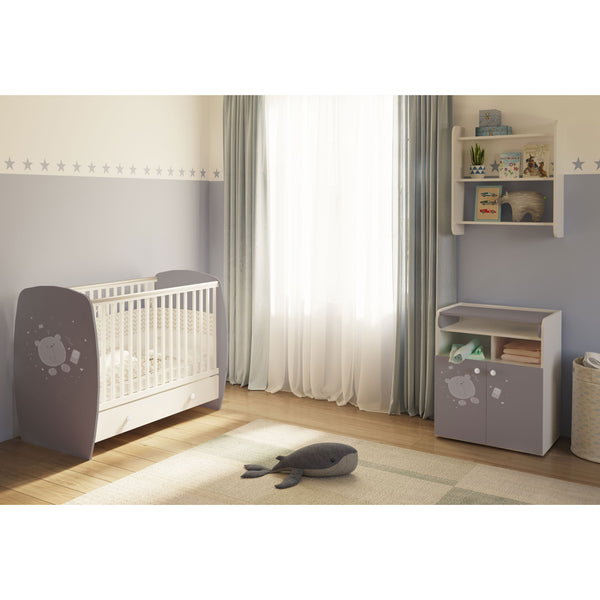 Kinderzimmer - Polini Kids Kinderzimmer French Teddy Weiß Grau Kinderbett Mit Kommode