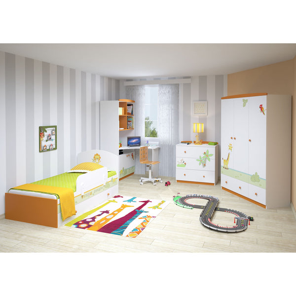Schrank - Polini Kids Kinder Kleiderschrank Basic Jungle 3-türig , 1188-1
