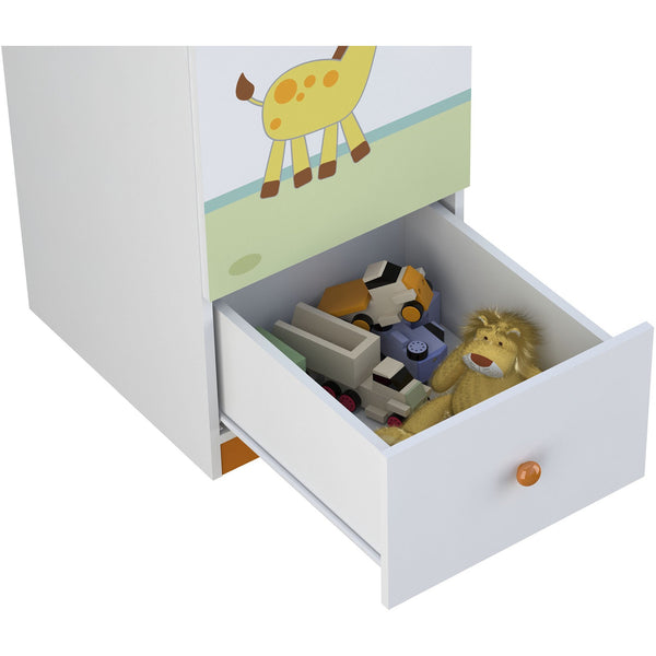 Schrank - Polini Kids Kleiderschrank Regal Basic Jungle Weiß-orange,1190-1