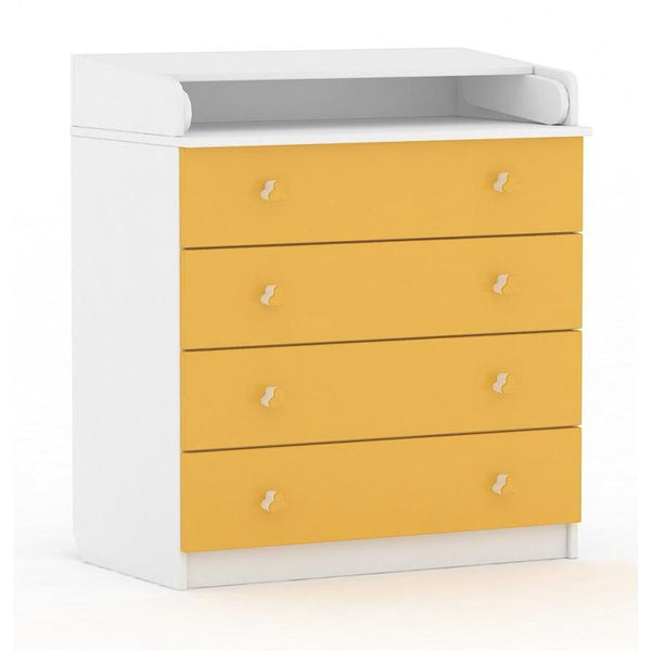 Wickeltisch - Polini Kids Baby Wickelkommode Simple Weiß-gelb, 1288.18