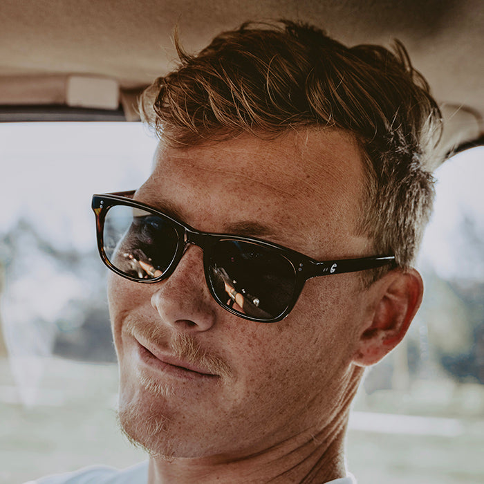 Guy Wearing Sala Verde Ocean Friendly Sunglasses