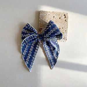 Sailor Bow // Blue eyelet