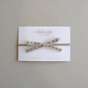 Petite Bow // Tan & Pink Floral