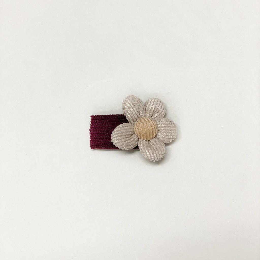 Corduroy snap clip // Burgundy-taupe