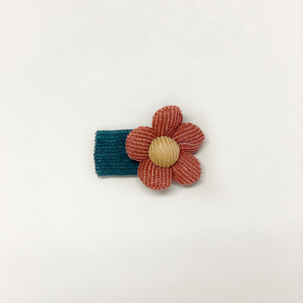 Corduroy snap clip // Teal-rust