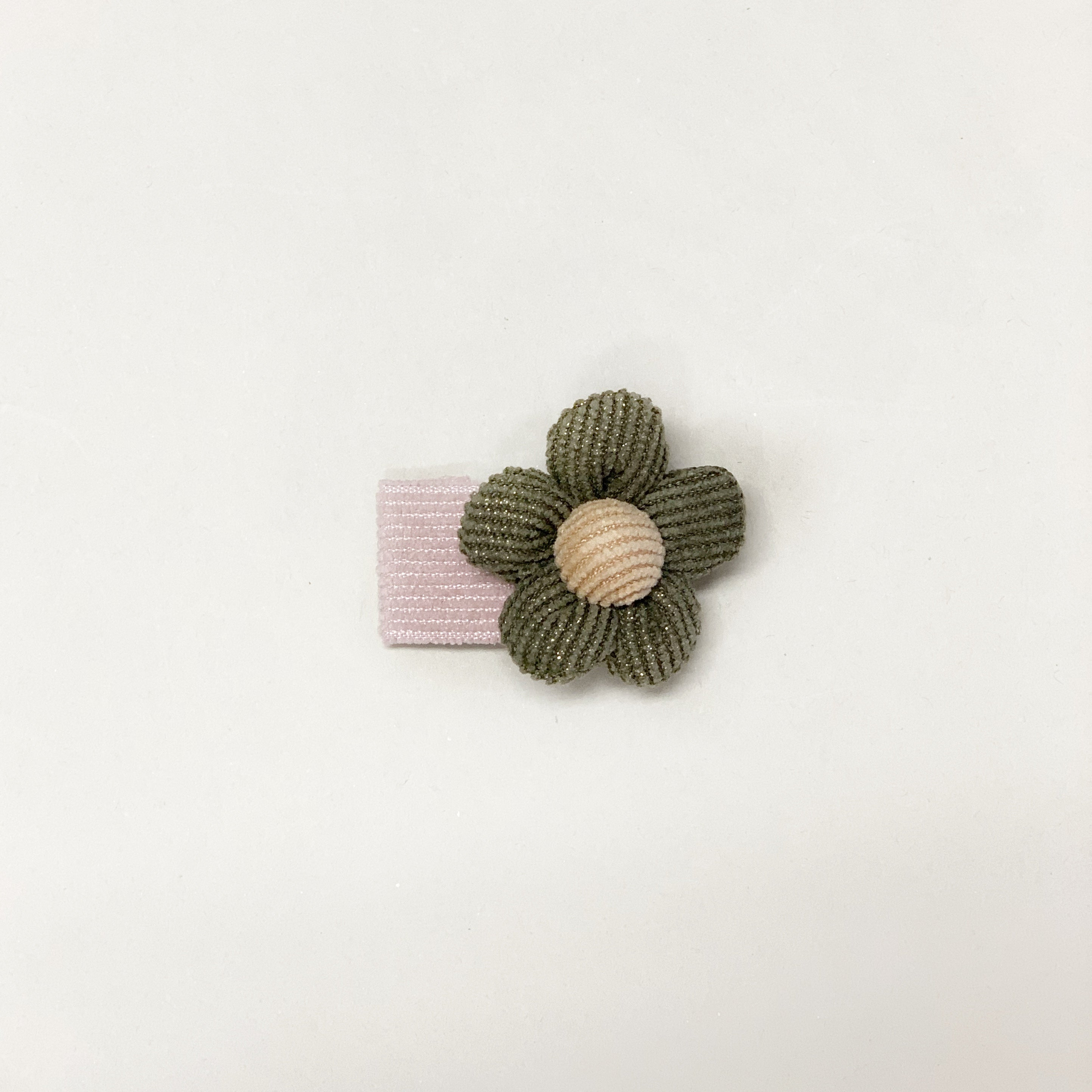 Corduroy snap clip // Pink-olive