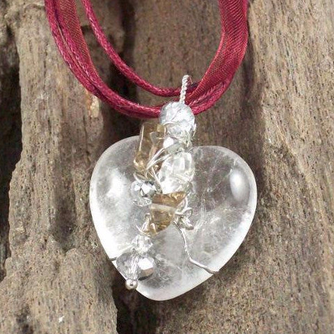 Clear Quartz Heart Pendant