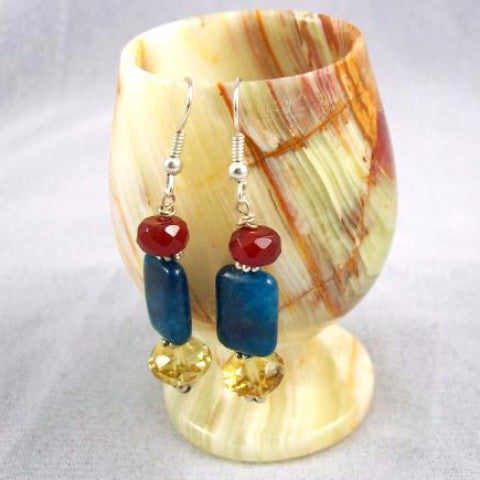 Apatite, Carnelian and Citrine Earrings