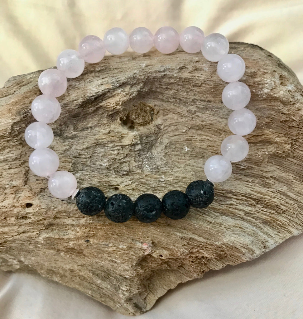 Rose Quartz & Lava Bead Bracelet