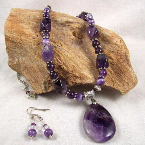 Amethyst Necklace with Tear drop Pendant