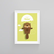Load image into Gallery viewer, Basil the Beaver Animal Print - Instant Digital Download - Oddly Wild