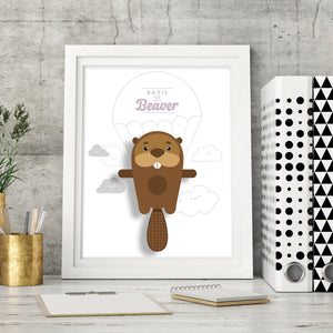 Basil the Beaver Animal Print - Instant Digital Download - Oddly Wild
