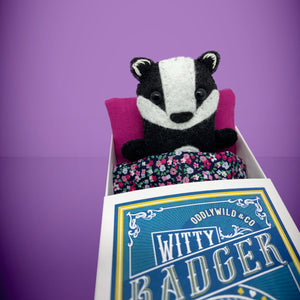 Mini Felt Badger in a card box - Stuffed toy