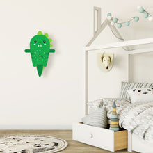 Load image into Gallery viewer, Dinosaur Wall Clock with pendulum tail - Oddly Wild