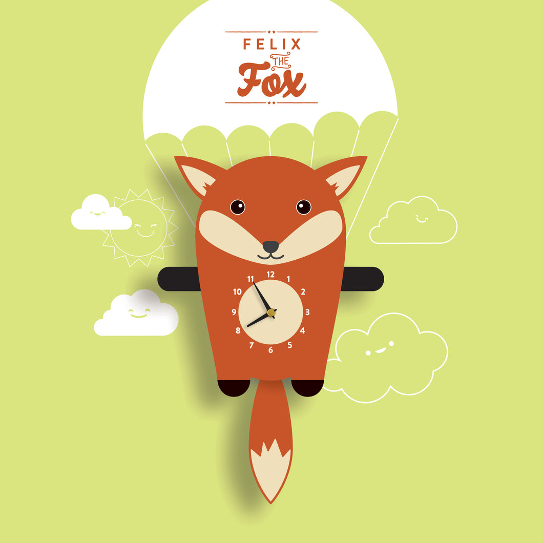 Fox Wall Clock with pendulum tail - Oddly Wild