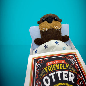 Mini Felt Otter in a card box - Stuffed toy