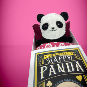 Mini Felt Panda in a card box - Stuffed toy