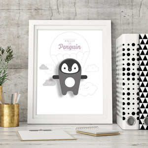 Polly the Penguin Digital Art Print - Oddly Wild