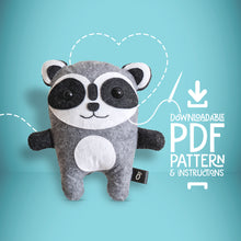Load image into Gallery viewer, Raccoon - Digital Download Sewing Pattern - Oddly Wild