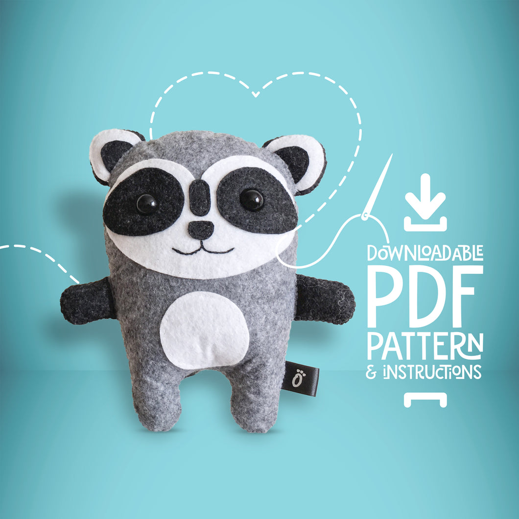 Raccoon - Digital Download Sewing Pattern - Oddly Wild