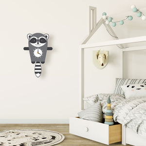 Raccoon Wall Clock with pendulum tail