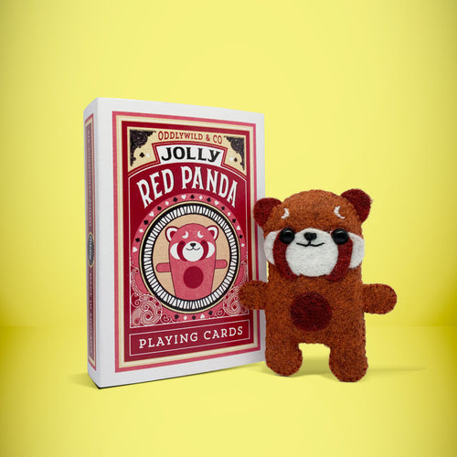 Mini Felt Red Panda in a card box - Stuffed toy
